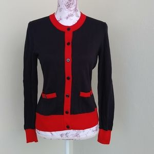 Chanel Uniform navy red button sweater cotton 36